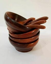 Antique Nautical Wooden Beautiful Bowls And Spoons Brown -set Of 4