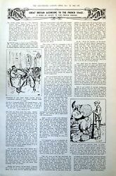 Antique Old Print French View Britain Cartoons Christmas Shops Jewellery 1921