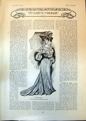 Antique Print Race Gown Queen Anne Bureau Carved Armchair William Mary 1903