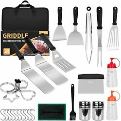30 Pcs Grill Accessories Set Griddle Tool Kit Outdoor Bbq Barbecue Tools