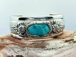 Stately 94.1g Sterling Silver Cuff Bracelet 3.5mm Round Diamonds And Turquoise