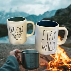 """New Rae Dunn """"explore More"""" And """"stay Wild"""" Double Sided Mugs"""