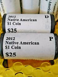 2012 P And 2012 D Native American Sacagawea Dollar Us Mint Rolls Total 50 Coins