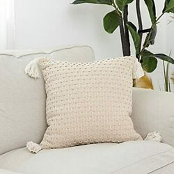 Snugtown Farmhouse Decor Throw Pillow Cover With Tassels Boho Cable Knitted P...
