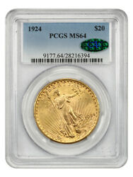 1924 20 Pcgs/cac Ms64 - Saint Gaudens Double Eagle - Gold Coin