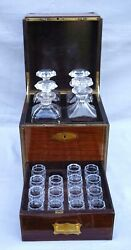 Victorian Liquor Cabinet Tantalus 4 Decanters Rosewood Brass Crystal Mono Hp