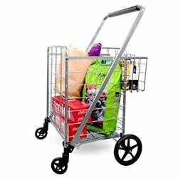 Shopping Cart With Double Basket Grocery Cart 160 Lbs Capacity Jumbo Sliver