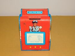 Vintage Toy 5 3/4 High Ohio Art Tin Metal Mail Box Airmail Speeds Letters Bank