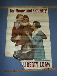 Vintage Wwi World War 1 1918 For Home And Country Liberty Loan Gi Doughboy Poster
