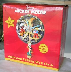 Vintage New In Box Disney Mickey Mouse Donald Goofy Animated Talking Wall Clock