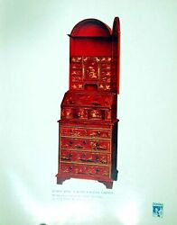 Old Antique Print Queen Anne Scarlet Lacquer Cabinet Mr F Partridge 1914 20th