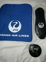 Jal Japan Airlines Vintage Flight Bag W/ Kimono Slippers Coaster Set Great Cond