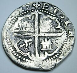 1500's P B Philip Ii Spanish Bolivia Silver 2 Reales Colonial Pirate Cob Coin
