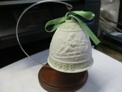 Vintage Lladro Bisque 1988 Christmas Bell With Wood Stand Santa Sledding