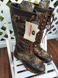 Guide Gear Menand039s Leather Water Proof Side Zip Mossy Oak Snake Boots Size 13