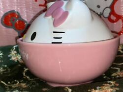 Sanrio 2002 Pink Cute Hello Kitty Made Of Pottery Face Donburi Bowl With Lid