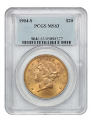 1904-s 20 Pcgs Ms63 - Liberty Double Eagle - Gold Coin