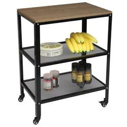 Kitchen Island Serving Cart W/ Utility Wood Tabletop 3-tier Rolling Storage Cart