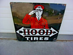 Rare 1920s Hood Tires Double Sided Porcelain Advertising Sign