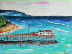 Original Painting Impressionism Modern on canvas 20x16 inches On the coast
