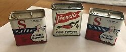 3 Used French's Chili Powder Spice Tin Schilling Poultry Seasoning Tins Turkey