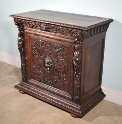 French Antique Renaissance Revival Highly Carved Solid Oak Buffet/cabinet
