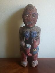 Antique African Glass Beaded Figure Statue - Beaded Dancing Woman - Very Old