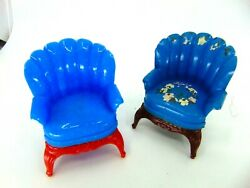 2 Vintage Ideal Renwal Arm Chairs Living Room Blue Texture W Red Legs Maroon