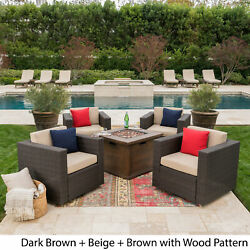 Achton Outdoor 4-piece Wicker Swivel Club Chair Set With Brown 5-piece Sets