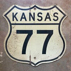 Kansas Us Route 77 Highway Marker Road Sign 1960s