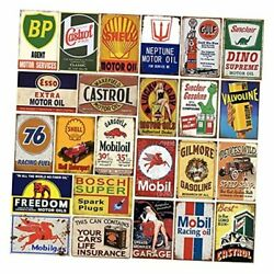 24 Pieces Gas And Oil Tin Signs, Retro Vintage Metal Sign For Home Man Cave