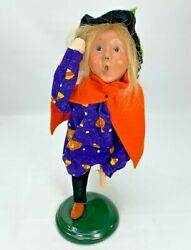 Byers Choice 2008 Girl Witch On Broom Halloween Orange Cape 10 Tall