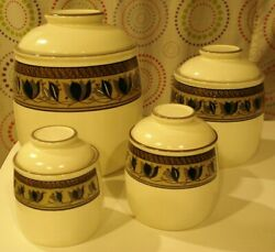 Hard To Find 4 Mikasa Intaglio Arabella Canisters With Lids No Damage To Any Htf