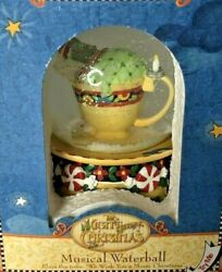 Mary Engelbreit Night Before Christmas Musical Waterball Snow Globe Mouse Teacup