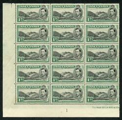 Ascension Sg39 1938 1d Black And Green Green Mountain Farm Plate Block Of 15