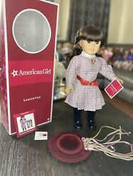 American Girl Doll Samantha Retired In Box Hat Locket And Indian Penny Superb ❤️