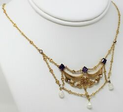 14 Kt Gold Victorian Floral Amethyst Diamond Pearl Swag Necklace 16 1/8 B2258