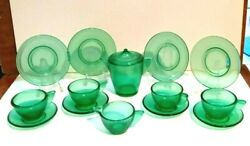 Akro Agate Sm Size Stippled Band Tea Set For Four In Clear Green Uranium Glass.