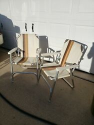 Lot Of 2 Vintage Aluminum Folding Lawn Patio Outdoor Chairs Solid Vinyl