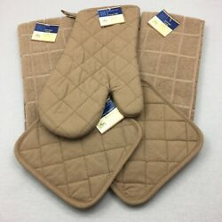 Home Collection Kitchen Set 5 Pieces Solid Brown Oven Mitt Pot Holders Towel