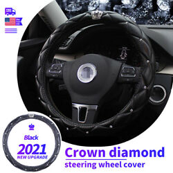 New Diamond Leather Car Steering Wheel Cover Bling Bling Queen Crown Protector