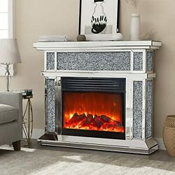 Mirrored Electric Fireplace,freestanding, With Remote, 3d Flame, 750/1500w