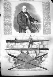 Old Antique Print 1861 Lord Westbury Lord Chancellor Sword Wallace Bruce 19th
