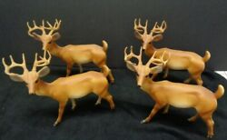 Vintage Hard Plastic Buck Deer 7 By 7 4 Realistic 2 Painted Gold Blow Mold