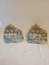 Vintage Burwood Products Company Wall Hanging Pair Of Country Cottage Houses