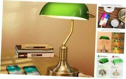 Green Glass Bankerandrsquos Lamp With 2 Fast Usb Charging Ports 3 Way Dimmable Desk