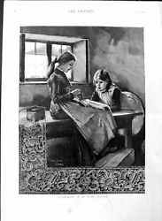 Original Old Antique Print 1886 Lace Making Ireland Cottage Industry Littl 19th