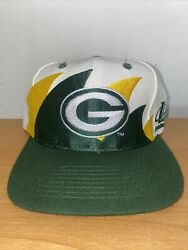 Green Bay Packers Logo Athletic Double Shark Tooth Snapback Hat Vintage Rare