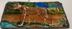 Vintage Big Cat Leopard Tapestry Made in Lebanon DTC 39.5quot; x 20quot;