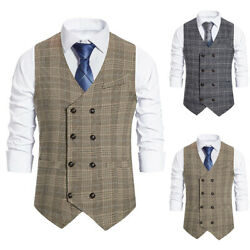Menand039s Double-breasted Business Work Jackets Casual Plaid Suit Vest Blazer Coat